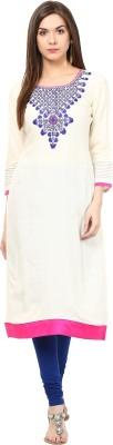 Prakhya Women Embroidered Straight Kurta(White) at flipkart