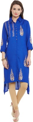 Bitterlime Women Self Design A-line Kurta(Blue) at flipkart