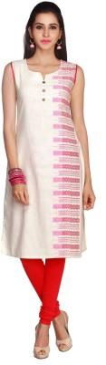 Maybell Self Design Women's Straight Kurta(Pink)