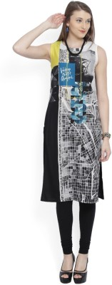 W Women Printed Straight Kurta(Black) at flipkart