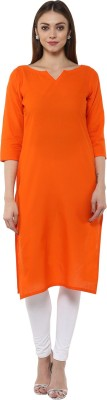 Libas Solid Women's Straight Kurta(Orange)  available at flipkart for Rs.399