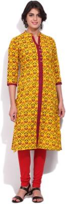 Rasleela Women Printed, Floral Print Straight Kurta(Yellow, Red) Flipkart