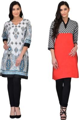 fabesta Women Checkered, Printed Straight Kurta(Blue)