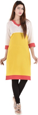Bihangam Casual Solid Women Kurti(Yellow)
