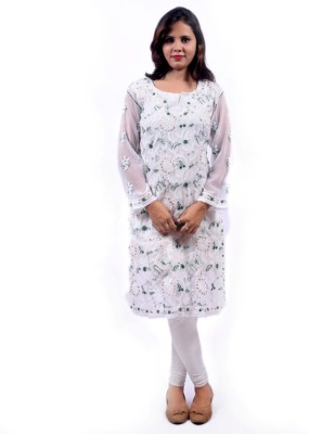 BDS Chikan Casual Embroidered Women's Kurti(White)