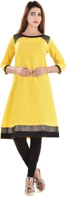Bihangam Casual Solid Girl's Kurti(Yellow)