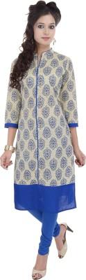 Gujari Women Printed Straight Kurta(Beige, Blue)