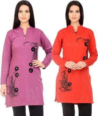 DEEPAK TRADERS Casual Printed Women Kurti(Orange)