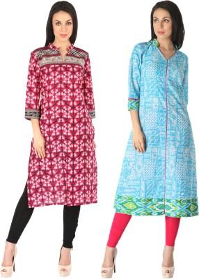 Kannan Casual Printed Women Kurti(Pack of 2, Multicolor)