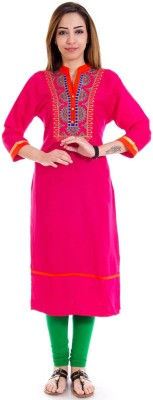 Halowishes Casual Embroidered Women's Kurti(Pink)