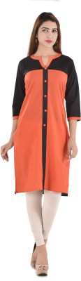 Bihangam Casual Solid Women Kurti(Orange)