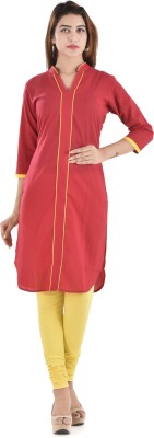 Bihangam Casual Solid Women Kurti(Red)