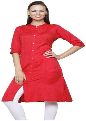 Pistaa Casual Solid Women's Kurti(Red)