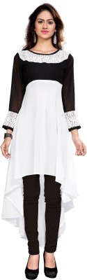 Jiya Casual Self Design, Embroidered, Embellished Women's Kurti(White, Black)