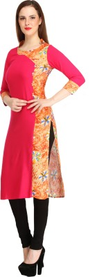 Cottinfab Casual Printed Women Kurti(Pink) at flipkart