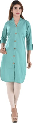 Bihangam Casual Solid Women Kurti(Green)