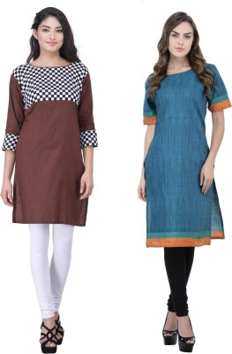 Drapes Casual Checkered, Printed Women Kurti(Pack of 2, Multicolor)