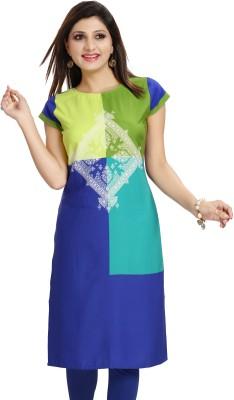 ALC Creations Women Printed Straight Kurta(Blue, White, Orange)