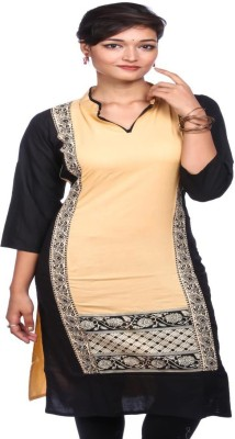 Feminin Self Design Women's Kurti(Beige)