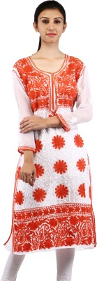 BDS Chikan Embroidered Women's Kurti(White)