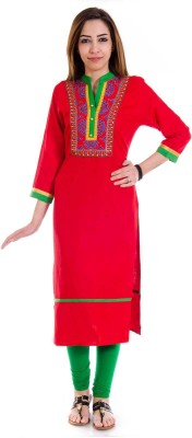 Halowishes Casual Embroidered Women's Kurti(Maroon)