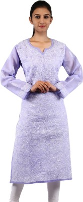 BDS Chikan Festive & Party Embroidered Women's Kurti(Purple)