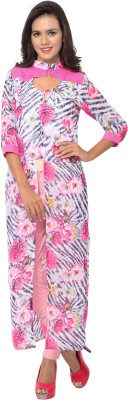 Khoobee Casual Self Design, Printed Women's Kurti(Pink, Multicolor)