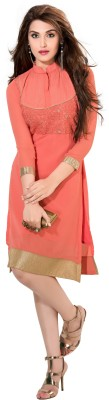 Jiya Casual Self Design, Embroidered Women's Kurti(Orange)