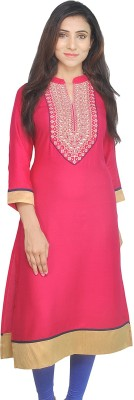 Khushalk Festive & Party Embroidered Women Kurti(Brown)