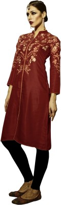 Khushali Party Self Design, Embroidered Women's Kurti(Red)
