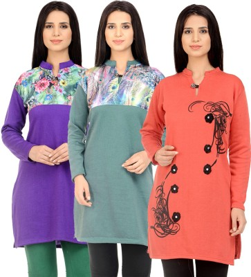 Blezza Casual Solid Women Kurti(Pack of 3, Black, Light Blue, Pink)