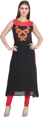 CJ15 Casual Solid Women's Kurti(Black)