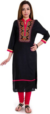 Halowishes Casual Embroidered Women's Kurti(Black)