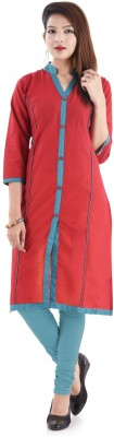 V.O COUTURE Solid Girl's Kurti(Red)