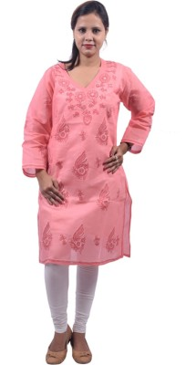 BDS Chikan Casual Embroidered Women's Kurti(Pink)
