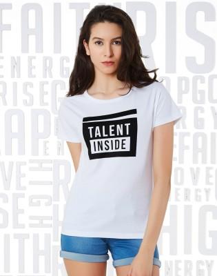 METRONAUT Printed Women Henley Neck White, Black T-Shirt
