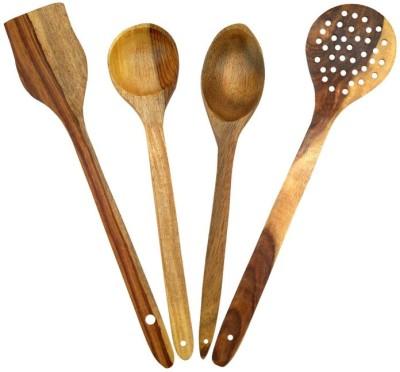 Onlineshoppee Wood Ladle(Brown, Pack of 4) at flipkart