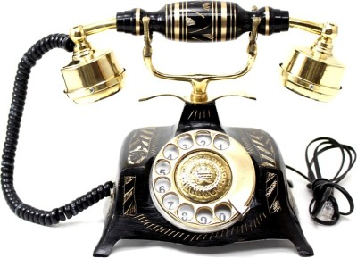 Artondoor Table Maharaja Brass Telephone Square Carved Corded Landline Phone(Golden, Black)