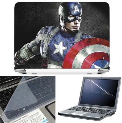 FineArts Captain America 3 in 1 Laptop Skin Pack With Screen Guard & Key Protector Combo Set(Multicolor)