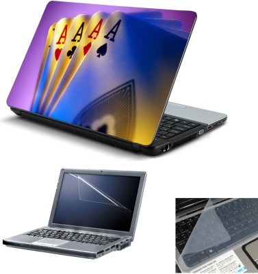 Geek Fours Aces 3in1 Laptop Skins with Laptop Screen Guard and Key Protector HQ 15.6 Inch Combo Set Multicolor