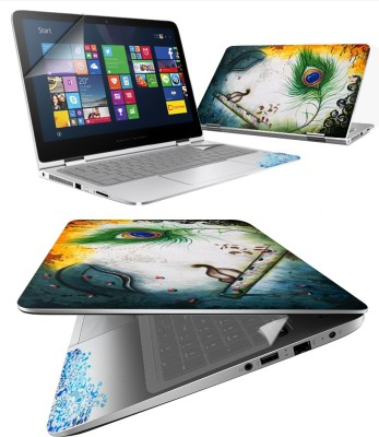 FineArts Krishna Flute 4 in 1 Laptop Skin Pack with Screen Guard, Key Protector and Palmrest Skin Combo Set