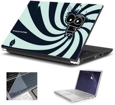 Geek Icecream Robot HQ 3in1 LAPTOP SKIN WITH LAPTOP SCREEN GUARD and KEY GUARD 15.6 IN Combo Set(Multicolor)