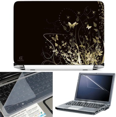 FineArts Butterfly Floral Abstract Black Back 3 in 1 Laptop Skin Pack With Screen Guard & Key Protector Combo Set(Multicolor)