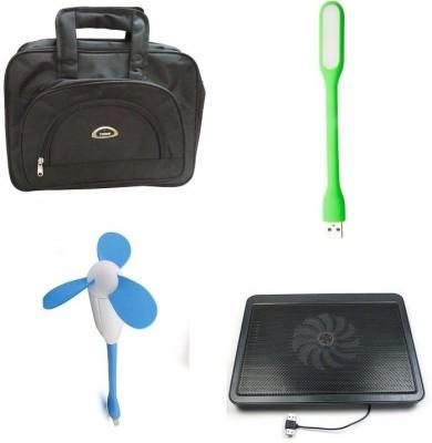 De techinn Combo Of 4 In 1 Laptop Bag ,Cooling pad, Usb Fan And Led Usb Light Combo Set Multicolor