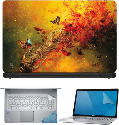 FineArts Blue Feather 4 in 1 Laptop Skin Pack with Screen Guard, Key Protector and Palmrest Skin Combo Set(Multicolor)