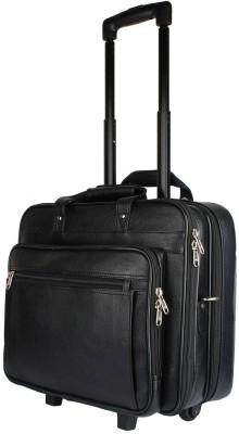 Madame Exclusive 16 inch Trolley Laptop Strolley Bag(Black) at flipkart