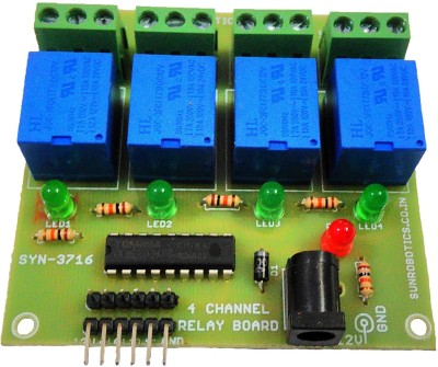 SunRobotics Four Channel 12V Relay Board Module(Multicolor)  available at flipkart for Rs.299