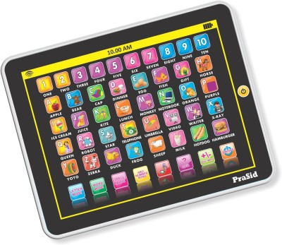 Prasid My Smart Pad English Learning Tablet for Kids - Indian Voice(Black, White)  available at flipkart for Rs.409