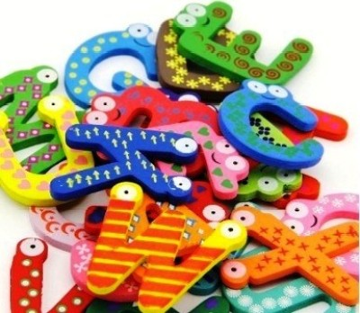 Kuhu Creations Wooden Alphabet Magnet(Multicolor)