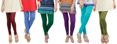 BuyNewTrend Churidar  Legging(Dark Blue, Purple, Blue, Light Blue, Green, Solid)